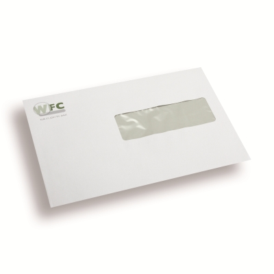 Printed Envelopes, 1 color, window right 110 mm x 220 mm White