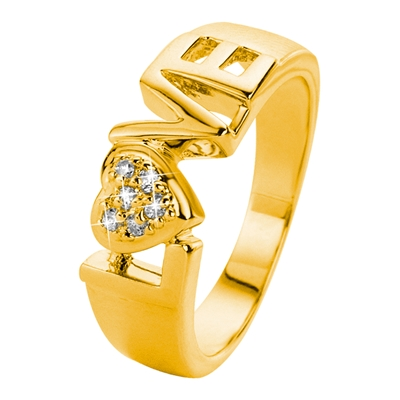 Eve gold plated ring love met zirkonia (1015805)