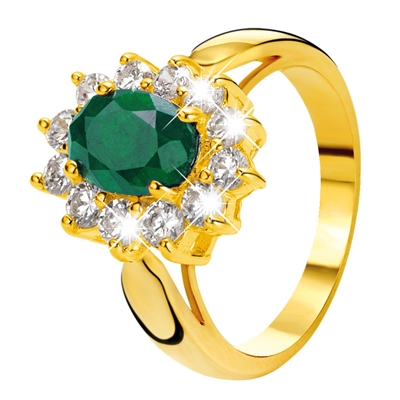 Eve gold plated ring met smaragd & zirkonia (1018125)