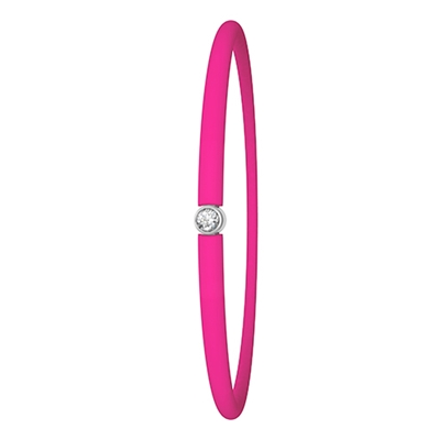 Zilveren armband My First Diamond roze fluo (1020402)