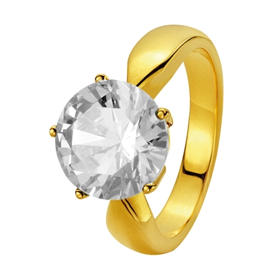 Eve gold plated ring met zirkonia 10mm. (1012735)