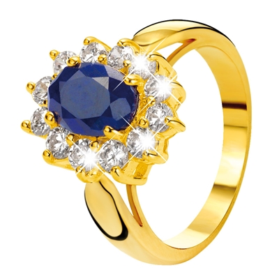 Eve gold plated ring met saffier & zirkonia (1013478)