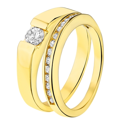 Eve gold plated ring 2 in 1 met zirkonia (1014187)