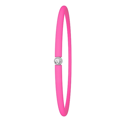 Zilveren armband My First Diamond licht roze fluo (1020403)