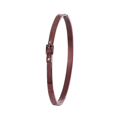 Stalen armband gesp choco brownplated (1024711)