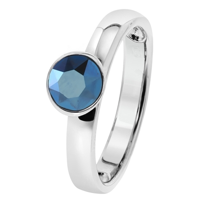 Zilveren ring met Swarovski Crystal metallic blue (1030232)