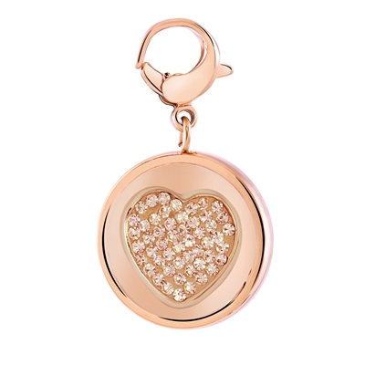 JUST.D Stalen hanger rose hart/love kristal (1028440)