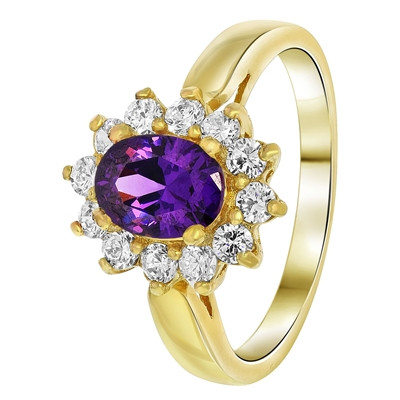 Goldplated ring amethyst met zirkonia (1033772)