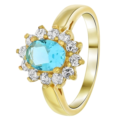 Goldplated ring aquamarine met zirkonia (1033778)