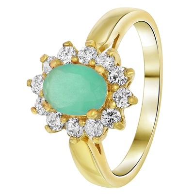 Goldplated ring milky blue met zirkonia (1033781)