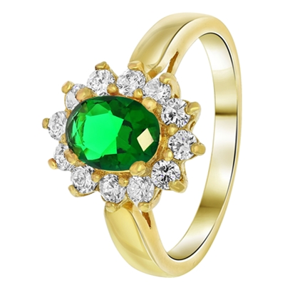 Goldplated ring emerald met zirkonia (1033787)