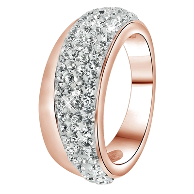 Stalen ring roseplated wit kristal (1034083)