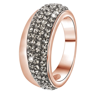 Stalen ring roseplated black diamond kristal (1034085)