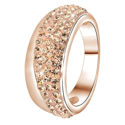 Stalen ring roseplated light peach kristal (1034086)