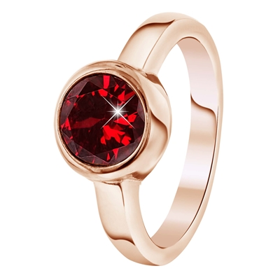 Stalen ring roseplated met ruby zirkonia (1034042)