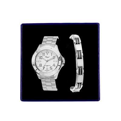Stalen set armband & Regal horloge R14793-112 (1034865)