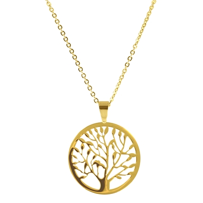 Stalen ketting met hanger goldplated tree of life (1035857)