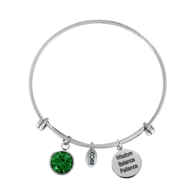 Stalen armband hanger Birthstone May/Emerald (1035862)