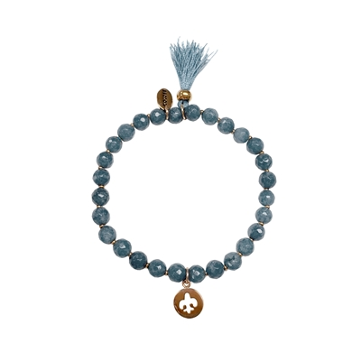 Stalen kralenarmband bedels light blue agate (1035960)