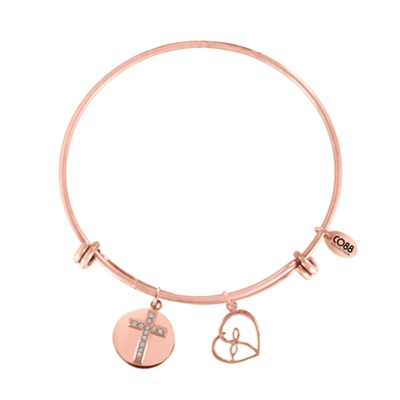 Stalen armband bedels cross/heart kristal (1035976)