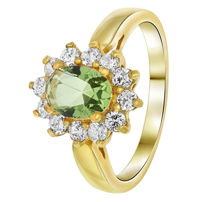 Goldplated ring crysolite met zirkonia (1035398)