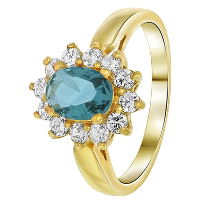 Goldplated ring jeans blue met zirkonia (1035395)