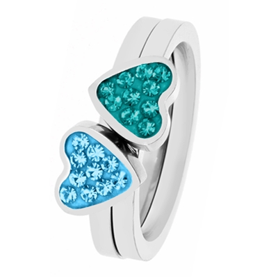 Stalen kinderring 2in1 blue zircon/aqua kristal (1035723)