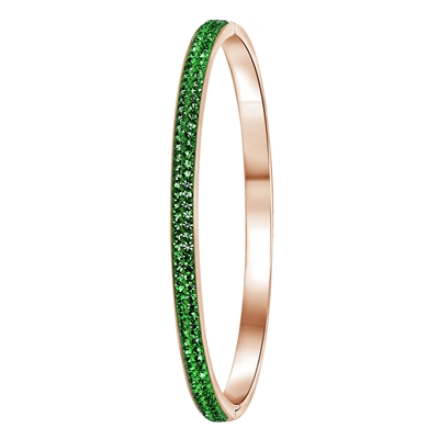 Stalen armband roseplated emerald kristal (1036039)