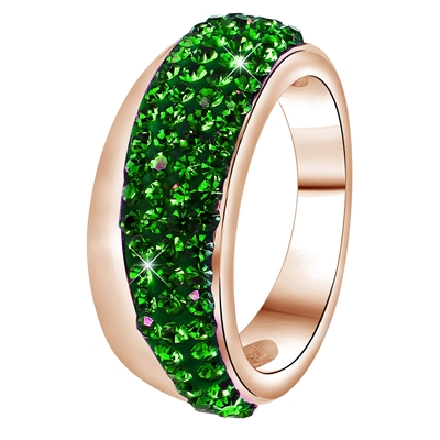 Stalen ring roseplated emerald kristal (1036060)