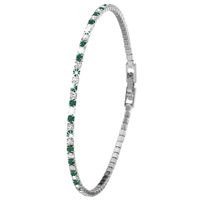 Silverplated armband emerald white crystals (1036240)