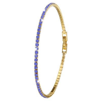 Goldplated armband sapphire crystals (1036248)
