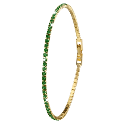 Goldplated armband emerald crystals (1036249)