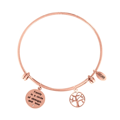 Stalen armband roseplated bedels tekst/tree (1035988)