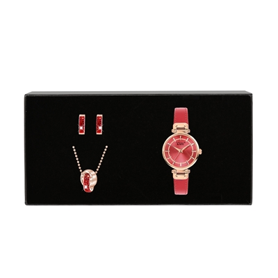 Stalen set roseplated met ruby kristal (1037580)