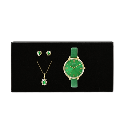Goldplated Nouveau Vintage set emerald (1037759)