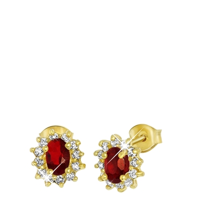Goldplated oorbellen ruby met zirkonia (1033768)